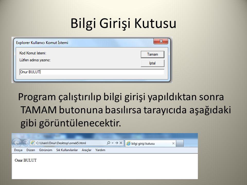 Bilgi Girişi Kutusu Program çalıştırılıp bilgi girişi yapıldıktan sonra TAMAM butonuna basılırsa tarayıcıda aşağıdaki gibi görüntülenecektir.