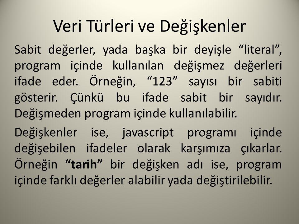 Veri Türleri ve Değişkenler Sabit değerler, yada başka bir deyişle literal , program içinde kullanılan değişmez değerleri ifade eder.