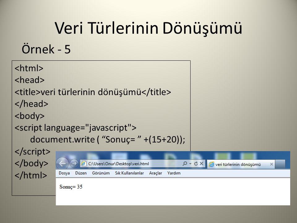 Veri Türlerinin Dönüşümü veri türlerinin dönüşümü document.write ( Sonuç= +(15+20)); Örnek - 5