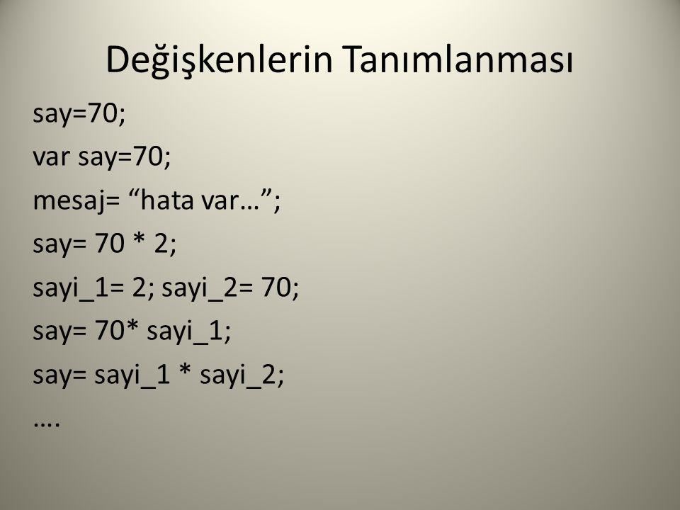 Değişkenlerin Tanımlanması say=70; var say=70; mesaj= hata var… ; say= 70 * 2; sayi_1= 2; sayi_2= 70; say= 70* sayi_1; say= sayi_1 * sayi_2; ….