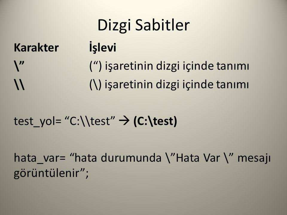 Dizgi Sabitler Karakterİşlevi \ ( ) işaretinin dizgi içinde tanımı \\(\) işaretinin dizgi içinde tanımı test_yol= C:\\test  (C:\test) hata_var= hata durumunda \ Hata Var \ mesajı görüntülenir ;