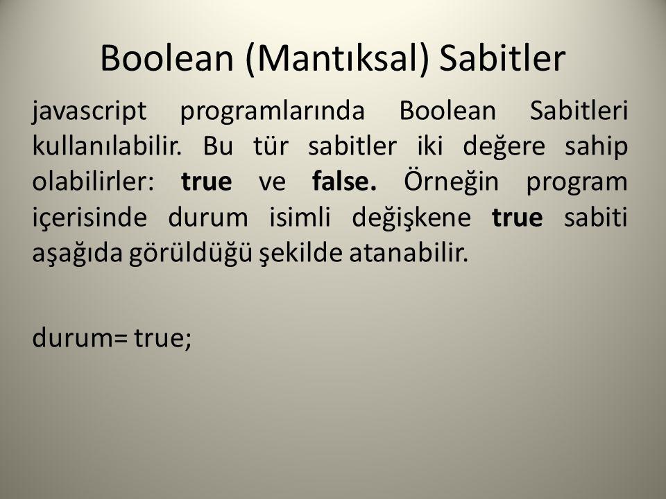 Boolean (Mantıksal) Sabitler javascript programlarında Boolean Sabitleri kullanılabilir.
