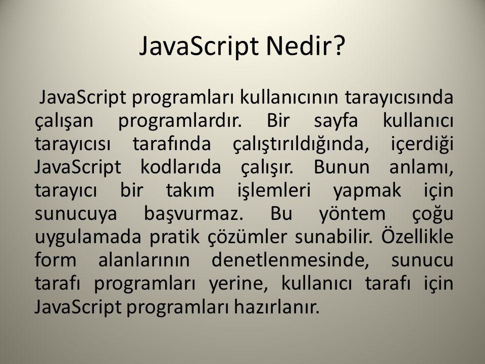 JavaScript Nedir. JavaScript programları kullanıcının tarayıcısında çalışan programlardır.