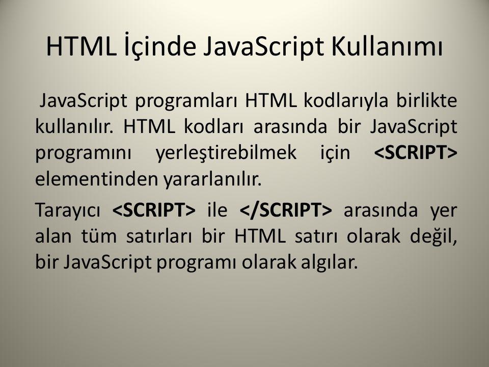 HTML İçinde JavaScript Kullanımı JavaScript programları HTML kodlarıyla birlikte kullanılır.