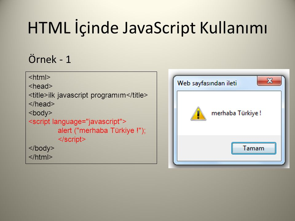 HTML İçinde JavaScript Kullanımı ilk javascript programım alert ( merhaba Türkiye ! ); Örnek - 1