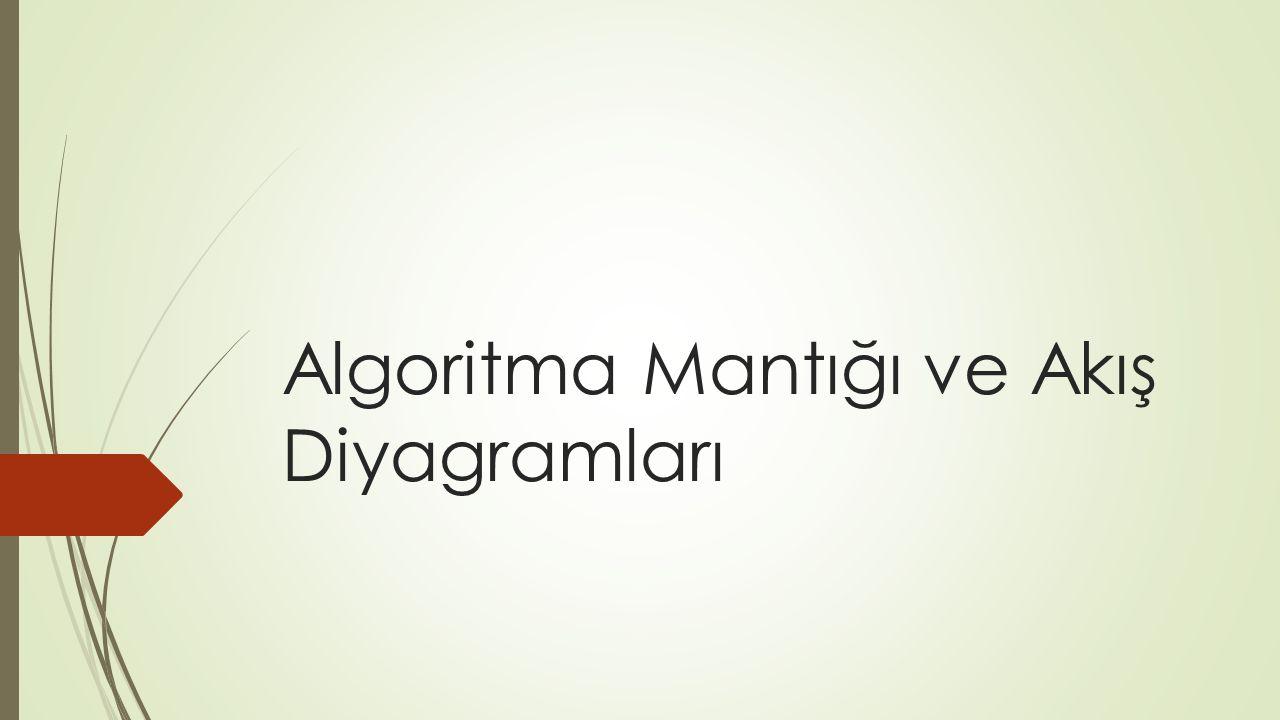 Algoritma  Algoritma, bir sorunun çözümü ya da bir işlemin yapılması için izlenecek yol anlamına gelmektedir.