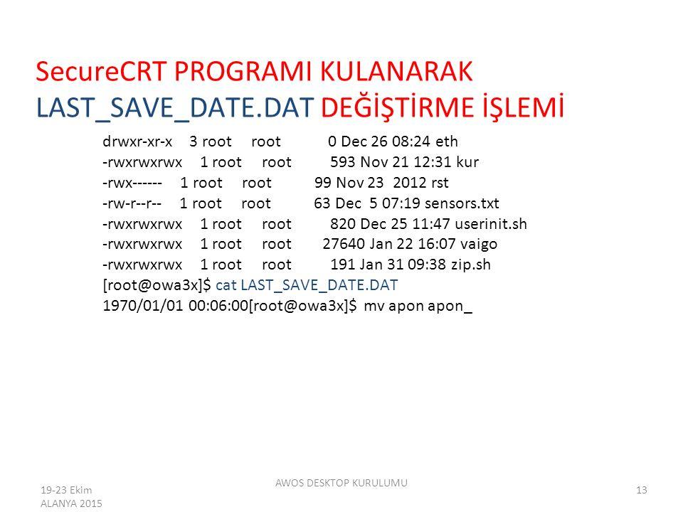 SecureCRT PROGRAMI KULANARAK LAST_SAVE_DATE.DAT DEĞİŞTİRME İŞLEMİ drwxr-xr-x 3 root root 0 Dec 26 08:24 eth -rwxrwxrwx 1 root root 593 Nov 21 12:31 ku