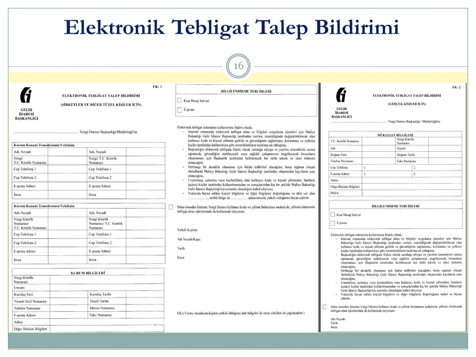 Elektronik Tebligat Talep Bildirimi 16