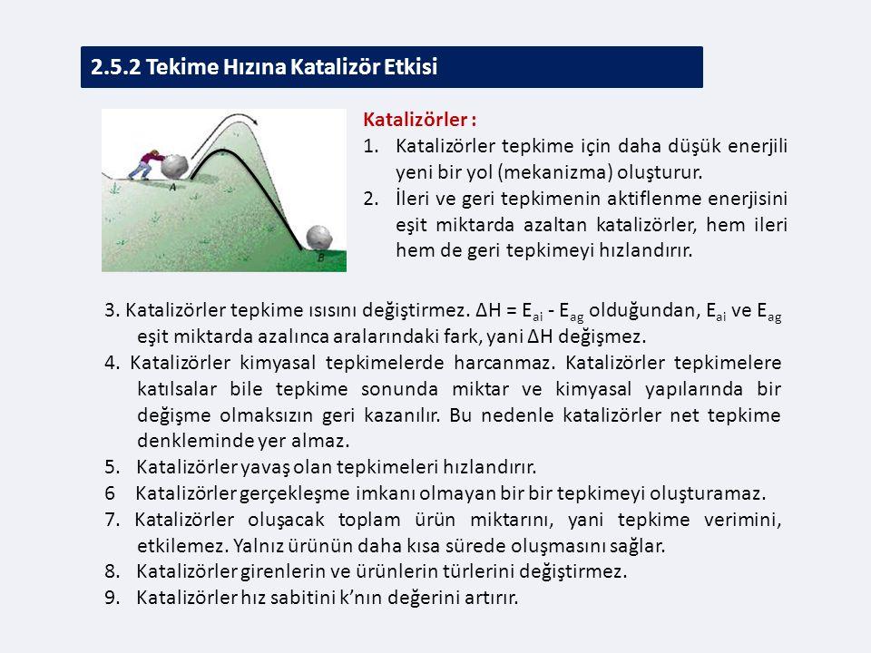 2.5.2 Tekime Hızına Katalizör Etkisi 3.Katalizörler tepkime ısısını değiştirmez.