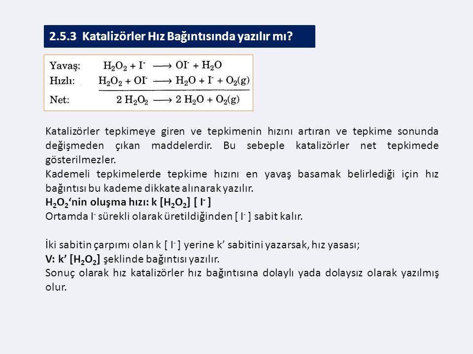 2.5.3 Katalizörler Hız Bağıntısında yazılır mı.