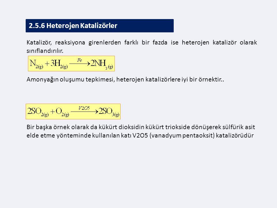 2.5.6 Heterojen Katalizörler Katalizör, reaksiyona girenlerden farklı bir fazda ise heterojen katalizör olarak sınıflandırılır.