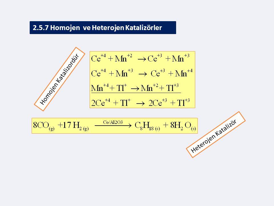 2.5.7 Homojen ve Heterojen Katalizörler Homojen Katalizordür Heterojen Katalizör