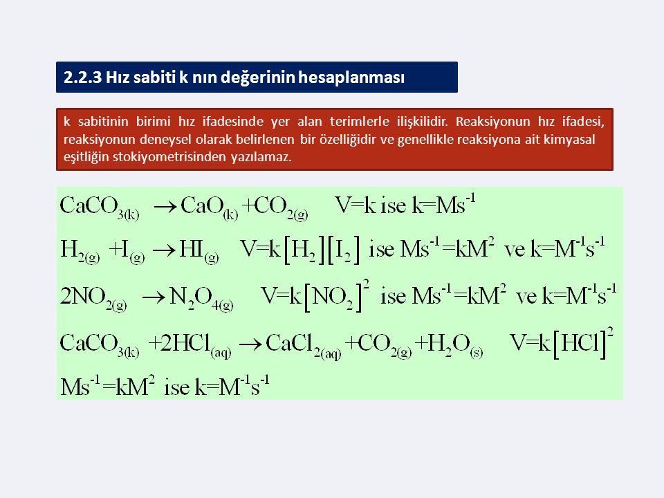 2.2.3 Hız sabiti k nın değerinin hesaplanması k sabitinin birimi hız ifadesinde yer alan terimlerle ilişkilidir.