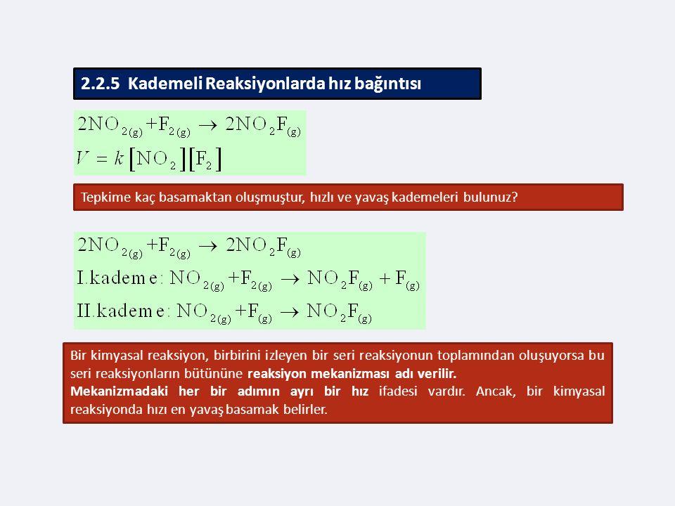 2.2.5 Kademeli Reaksiyonlarda hız bağıntısı Tepkime kaç basamaktan oluşmuştur, hızlı ve yavaş kademeleri bulunuz.