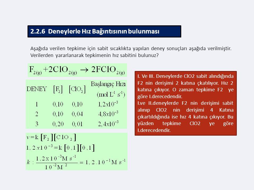 2.2.6 Deneylerle Hız Bağıntısının bulunması Aşağıda verilen tepkime için sabit sıcaklıkta yapılan deney sonuçları aşağıda verilmiştir.