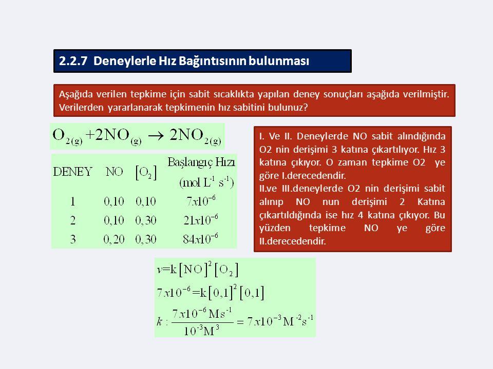 2.2.7 Deneylerle Hız Bağıntısının bulunması Aşağıda verilen tepkime için sabit sıcaklıkta yapılan deney sonuçları aşağıda verilmiştir.