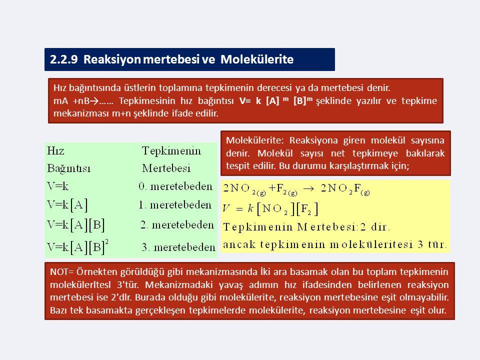 2.2.9 Reaksiyon mertebesi ve Molekülerite Hız bağıntısında üstlerin toplamına tepkimenin derecesi ya da mertebesi denir.