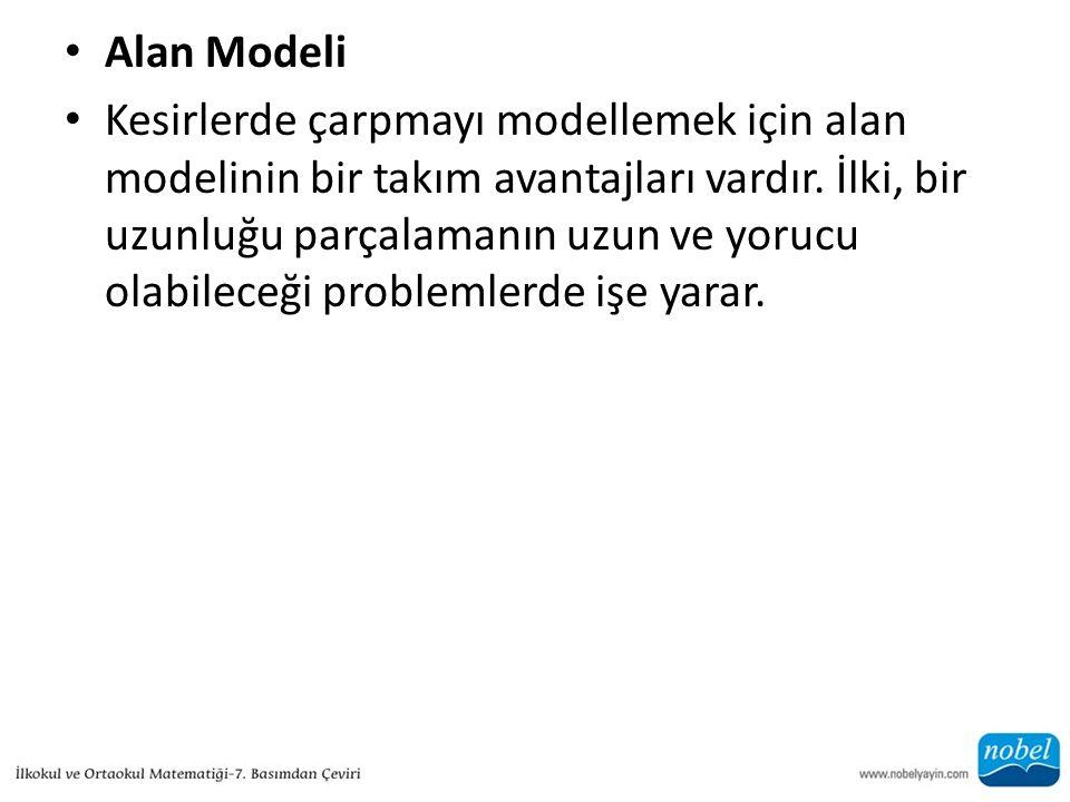 Alan Modeli Kesirlerde çarpmayı modellemek için alan modelinin bir takım avantajları vardır. İlki, bir uzunluğu parçalamanın uzun ve yorucu olabileceğ