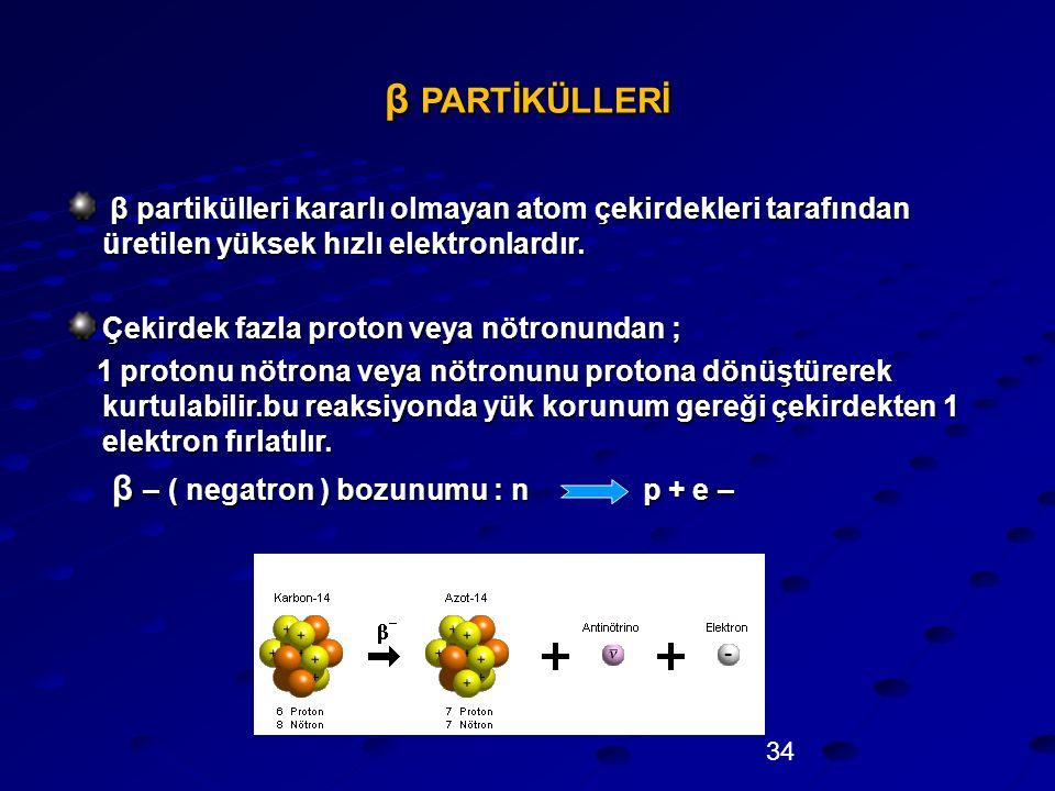 34 β PARTİKÜLLERİ β partikülleri kararlı olmayan atom çekirdekleri tarafından üretilen yüksek hızlı elektronlardır. β partikülleri kararlı olmayan ato