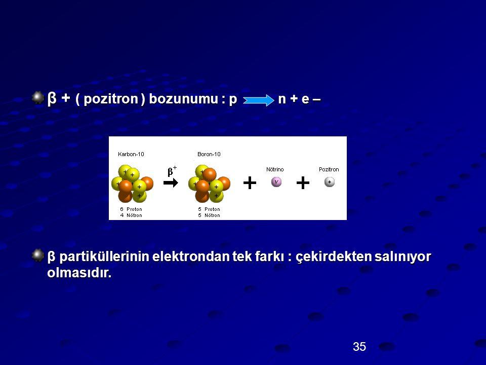 35 β + ( pozitron ) bozunumu : p n + e – β partiküllerinin elektrondan tek farkı : çekirdekten salınıyor olmasıdır.