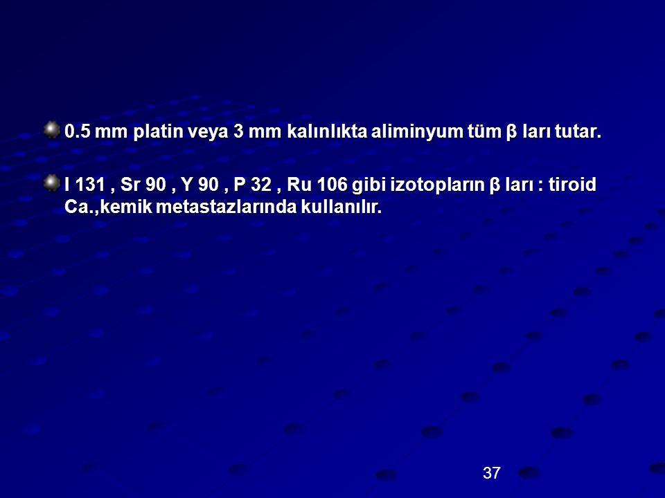 37 0.5 mm platin veya 3 mm kalınlıkta aliminyum tüm β ları tutar. I 131, Sr 90, Y 90, P 32, Ru 106 gibi izotopların β ları : tiroid Ca.,kemik metastaz