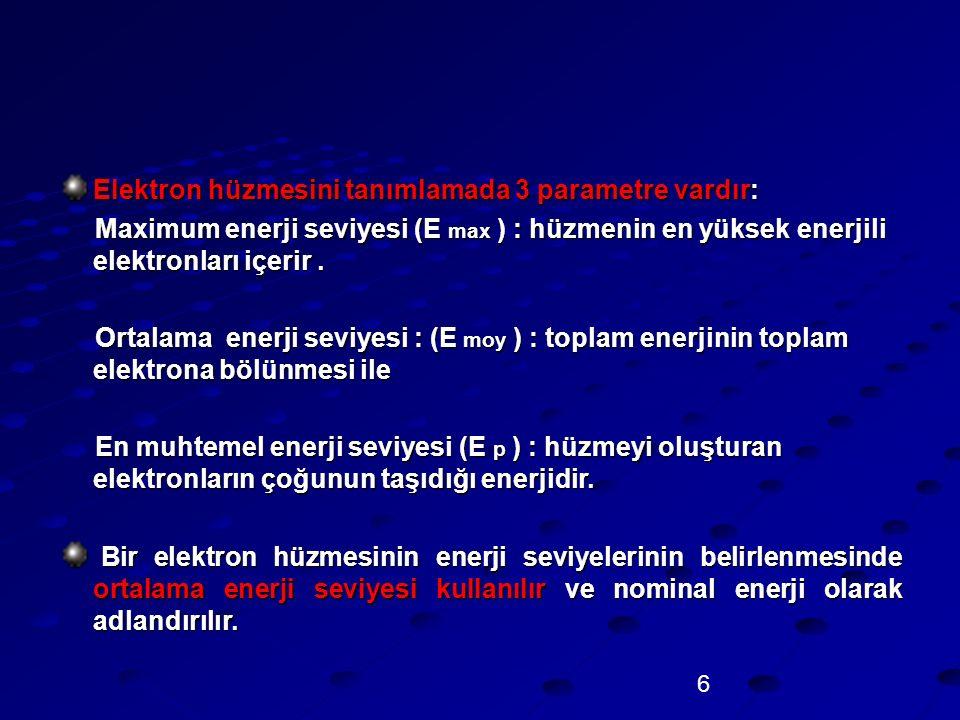 6 Elektron hüzmesini tanımlamada 3 parametre vardır: Maximum enerji seviyesi (E max ) : hüzmenin en yüksek enerjili elektronları içerir. Maximum enerj