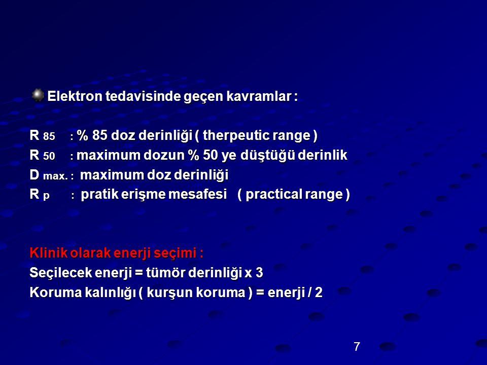 7 Elektron tedavisinde geçen kavramlar : R 85 : % 85 doz derinliği ( therpeutic range ) R 50 : maximum dozun % 50 ye düştüğü derinlik D max. : maximum