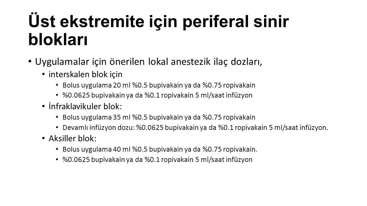 Üst ekstremite için periferal sinir blokları Uygulamalar için önerilen lokal anestezik ilaç dozları, interskalen blok için Bolus uygulama 20 ml %0.5 bupivakain ya da %0.75 ropivakain %0.0625 bupivakain ya da %0.1 ropivakain 5 ml/saat infüzyon İnfraklavikuler blok: Bolus uygulama 35 ml %0.5 bupivakain ya da %0.75 ropivakain Devamlı infüzyon dozu: %0.0625 bupivakain ya da %0.1 ropivakain 5 ml/saat infüzyon.