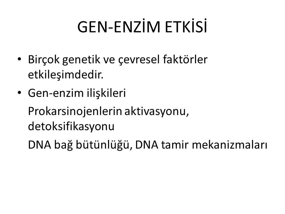 GEN-ENZİM ETKİSİ Birçok genetik ve çevresel faktörler etkileşimdedir. Gen-enzim ilişkileri Prokarsinojenlerin aktivasyonu, detoksifikasyonu DNA bağ bü