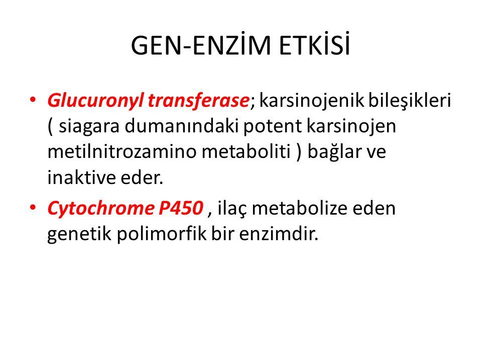 GEN-ENZİM ETKİSİ Glucuronyl transferase; karsinojenik bileşikleri ( siagara dumanındaki potent karsinojen metilnitrozamino metaboliti ) bağlar ve inak