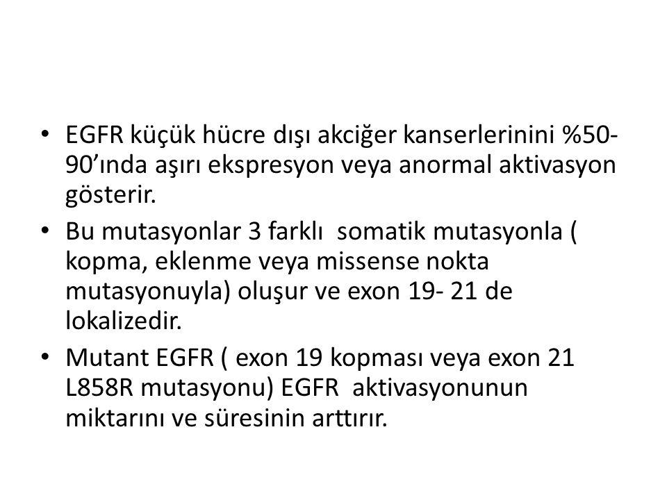 EGFR küçük hücre dışı akciğer kanserlerinini %50- 90'ında aşırı ekspresyon veya anormal aktivasyon gösterir. Bu mutasyonlar 3 farklı somatik mutasyonl