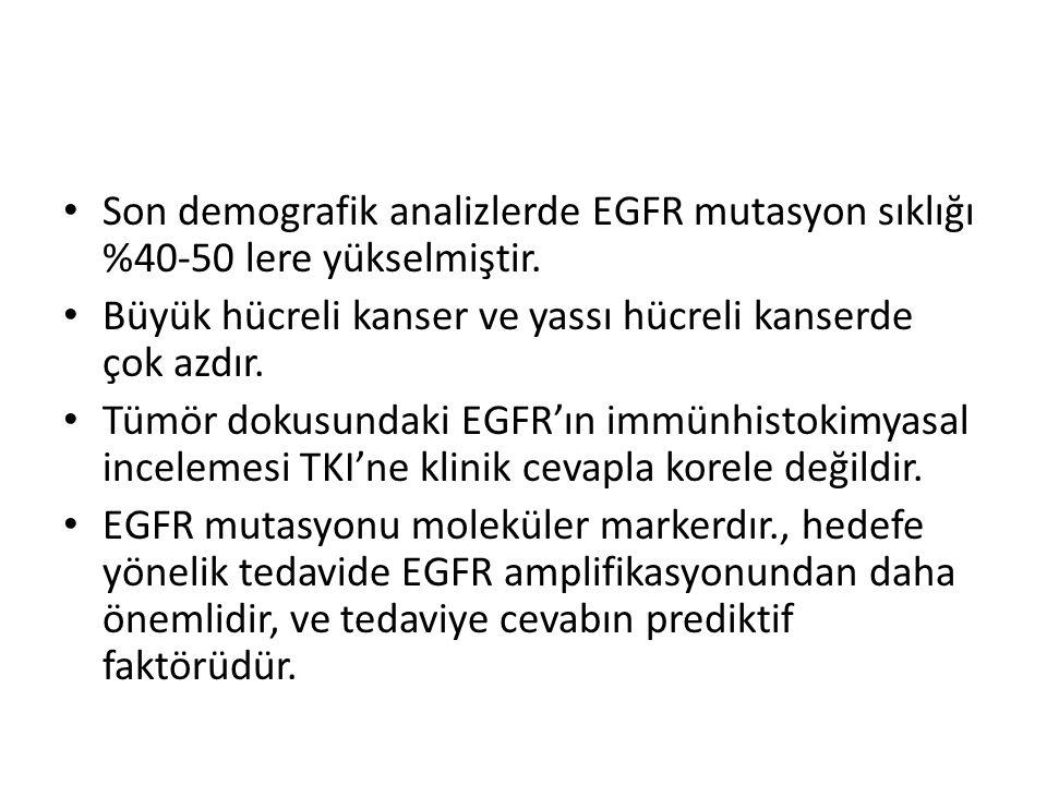 Son demografik analizlerde EGFR mutasyon sıklığı %40-50 lere yükselmiştir. Büyük hücreli kanser ve yassı hücreli kanserde çok azdır. Tümör dokusundaki