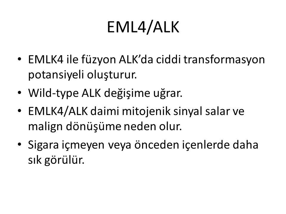 EML4/ALK EMLK4 ile füzyon ALK'da ciddi transformasyon potansiyeli oluşturur. Wild-type ALK değişime uğrar. EMLK4/ALK daimi mitojenik sinyal salar ve m