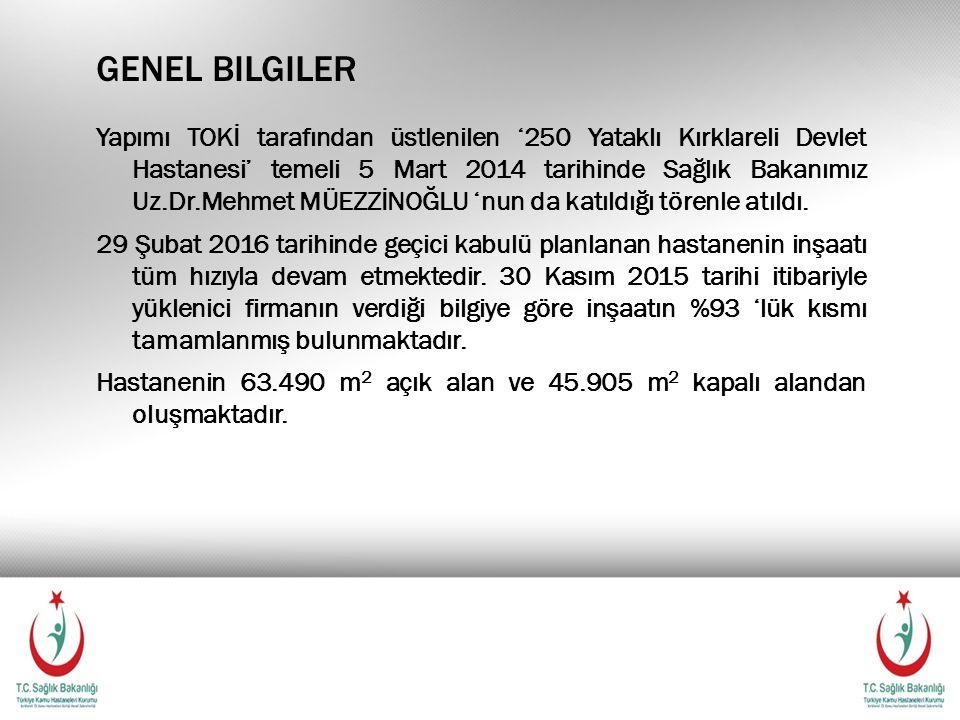 GENEL BILGILER Yapımı TOKİ tarafından üstlenilen '250 Yataklı Kırklareli Devlet Hastanesi' temeli 5 Mart 2014 tarihinde Sağlık Bakanımız Uz.Dr.Mehmet MÜEZZİNOĞLU 'nun da katıldığı törenle atıldı.