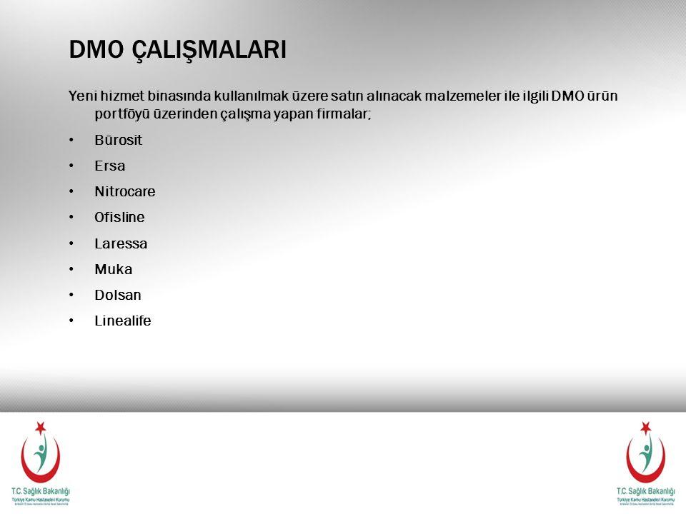 DMO ÇALIŞMALARI Yeni hizmet binasında kullanılmak üzere satın alınacak malzemeler ile ilgili DMO ürün portföyü üzerinden çalışma yapan firmalar; Bürosit Ersa Nitrocare Ofisline Laressa Muka Dolsan Linealife
