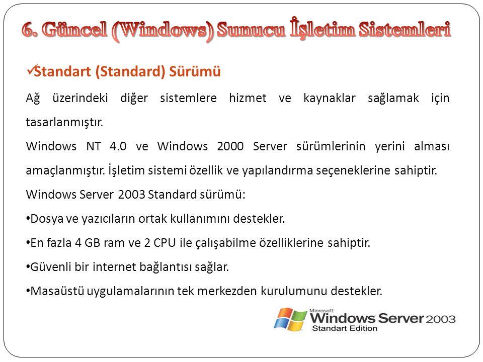Standart (Standard) Sürümü Ağ üzerindeki diğer sistemlere hizmet ve kaynaklar sağlamak için tasarlanmıştır. Windows NT 4.0 ve Windows 2000 Server sürü