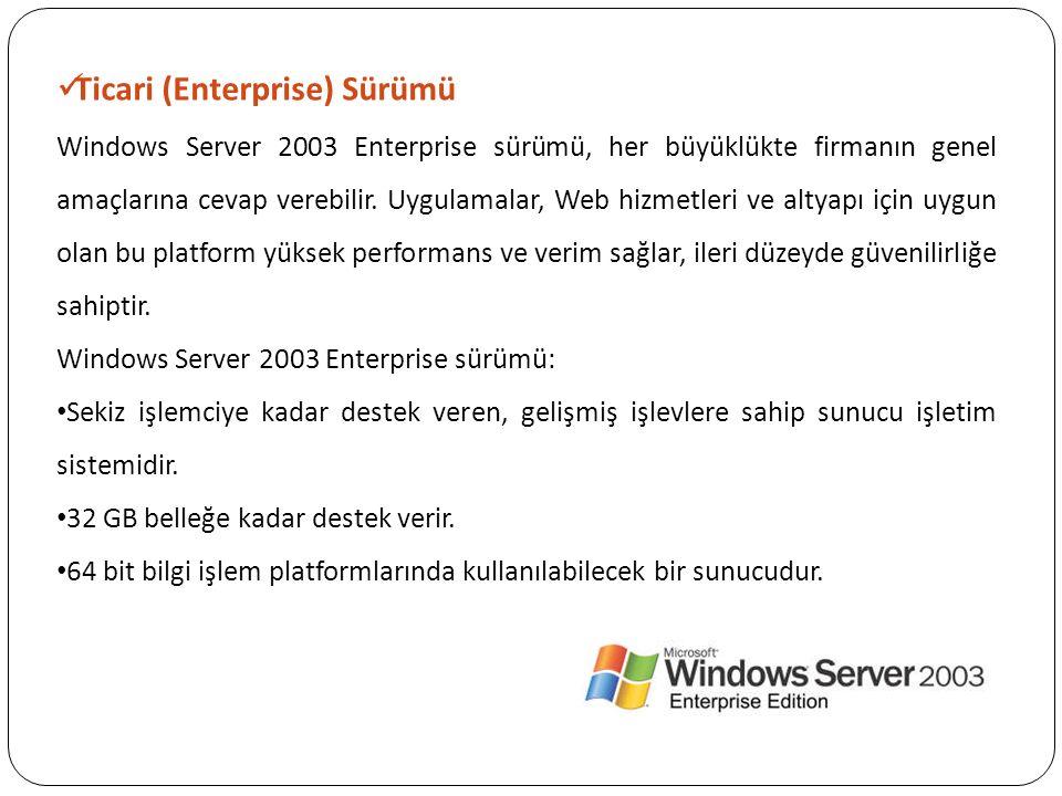 Ticari (Enterprise) Sürümü Windows Server 2003 Enterprise sürümü, her büyüklükte firmanın genel amaçlarına cevap verebilir. Uygulamalar, Web hizmetler