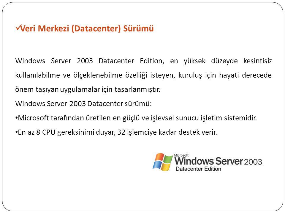 Veri Merkezi (Datacenter) Sürümü Windows Server 2003 Datacenter Edition, en yüksek düzeyde kesintisiz kullanılabilme ve ölçeklenebilme özelliği isteye