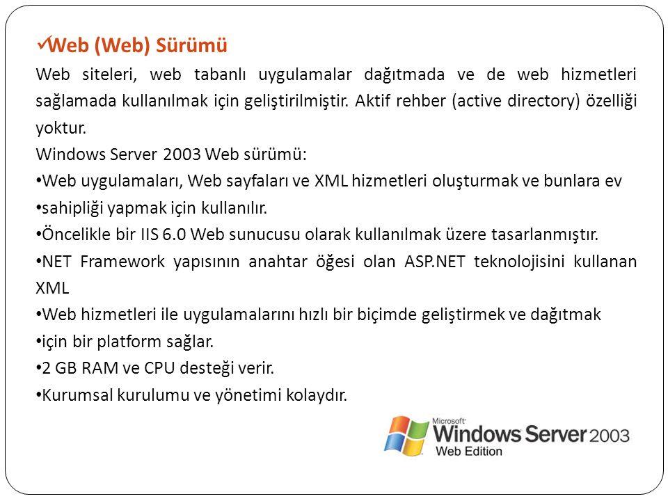 Web (Web) Sürümü Web siteleri, web tabanlı uygulamalar dağıtmada ve de web hizmetleri sağlamada kullanılmak için geliştirilmiştir. Aktif rehber (activ