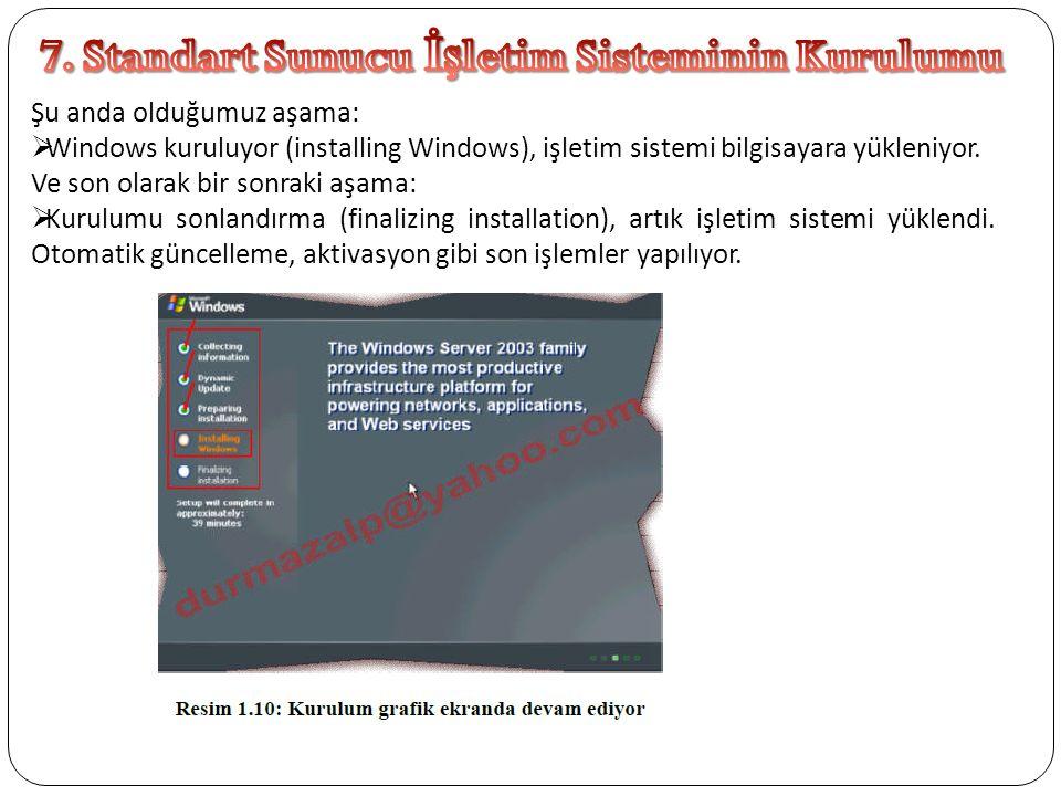 Şu anda olduğumuz aşama:  Windows kuruluyor (installing Windows), işletim sistemi bilgisayara yükleniyor. Ve son olarak bir sonraki aşama:  Kurulumu