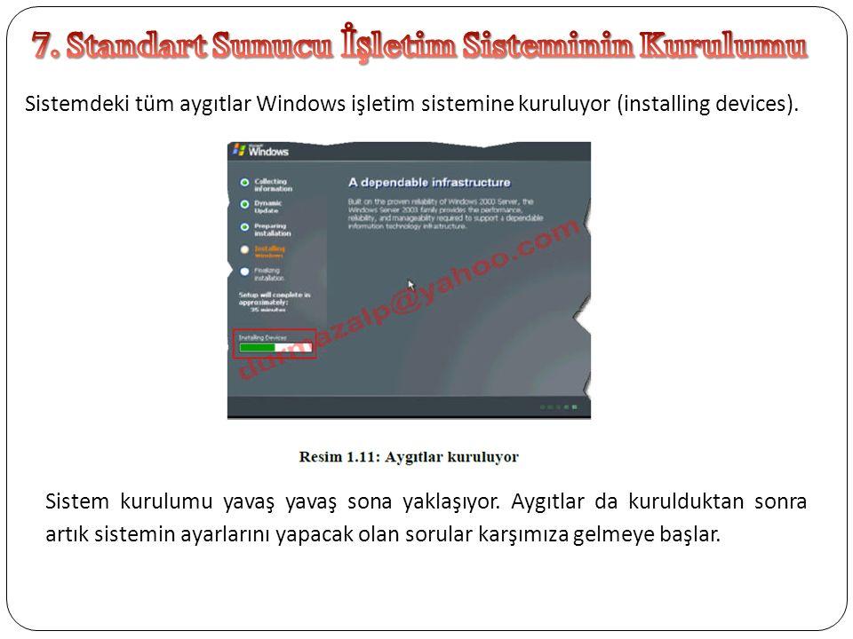 Sistemdeki tüm aygıtlar Windows işletim sistemine kuruluyor (installing devices). Sistem kurulumu yavaş yavaş sona yaklaşıyor. Aygıtlar da kurulduktan