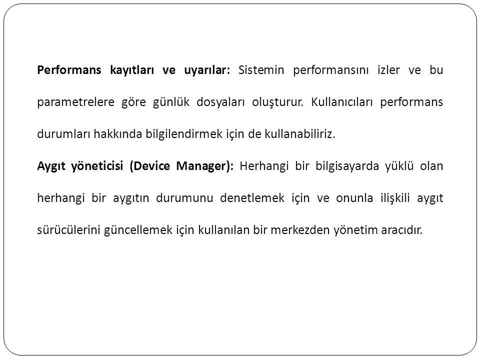 Performans kayıtları ve uyarılar: Sistemin performansını izler ve bu parametrelere göre günlük dosyaları oluşturur. Kullanıcıları performans durumları