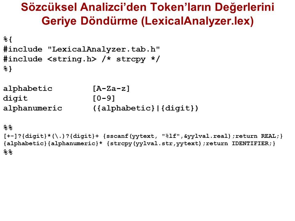 Sözcüksel Analizci'den Token'ların Değerlerini Geriye Döndürme (LexicalAnalyzer.lex) %{ #include LexicalAnalyzer.tab.h #include /* strcpy */ %} alphabetic [A-Za-z] digit [0-9] alphanumeric ({alphabetic}|{digit}) % [+-]?{digit}*(\.)?{digit}+ {sscanf(yytext, %lf ,&yylval.real);return REAL;} {alphabetic}{alphanumeric}* {strcpy(yylval.str,yytext);return IDENTIFIER;} %