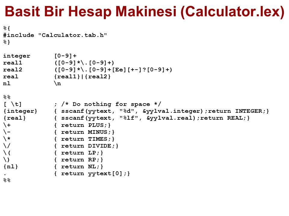 Basit Bir Hesap Makinesi (Calculator.lex) %{ #include Calculator.tab.h %} integer [0-9]+ real1 ([0-9]*\.[0-9]+) real2 ([0-9]*\.[0-9]+[Ee][+-]?[0-9]+) real {real1}|{real2} nl \n % [ \t] ; /* Do nothing for space */ {integer} { sscanf(yytext, %d , &yylval.integer);return INTEGER;} {real} { sscanf(yytext, %lf , &yylval.real);return REAL;} \+ { return PLUS;} \- { return MINUS;} \* { return TIMES;} \/ { return DIVIDE;} \( { return LP;} \) { return RP;} {nl} { return NL;}.