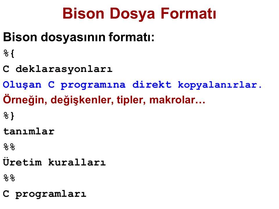 Bison Dosya Formatı Bison dosyasının formatı: %{ C deklarasyonları Oluşan C programına direkt kopyalanırlar. Örneğin, değişkenler, tipler, makrolar… %
