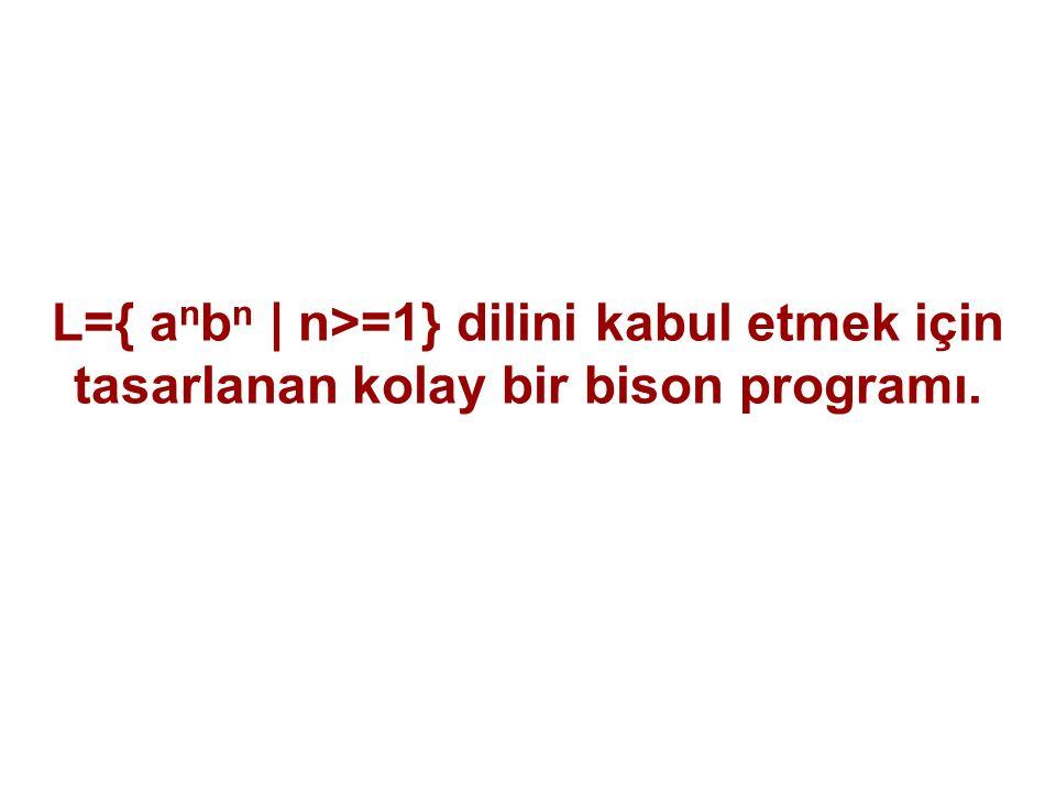 L={ a n b n | n>=1} dilini kabul etmek için tasarlanan kolay bir bison programı.