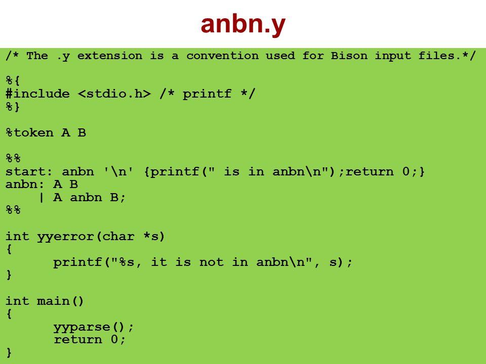 anbn.lex %{ #include anbn.tab.h %} % a return A; b return B;. return yytext[0]; \n return \n ; %