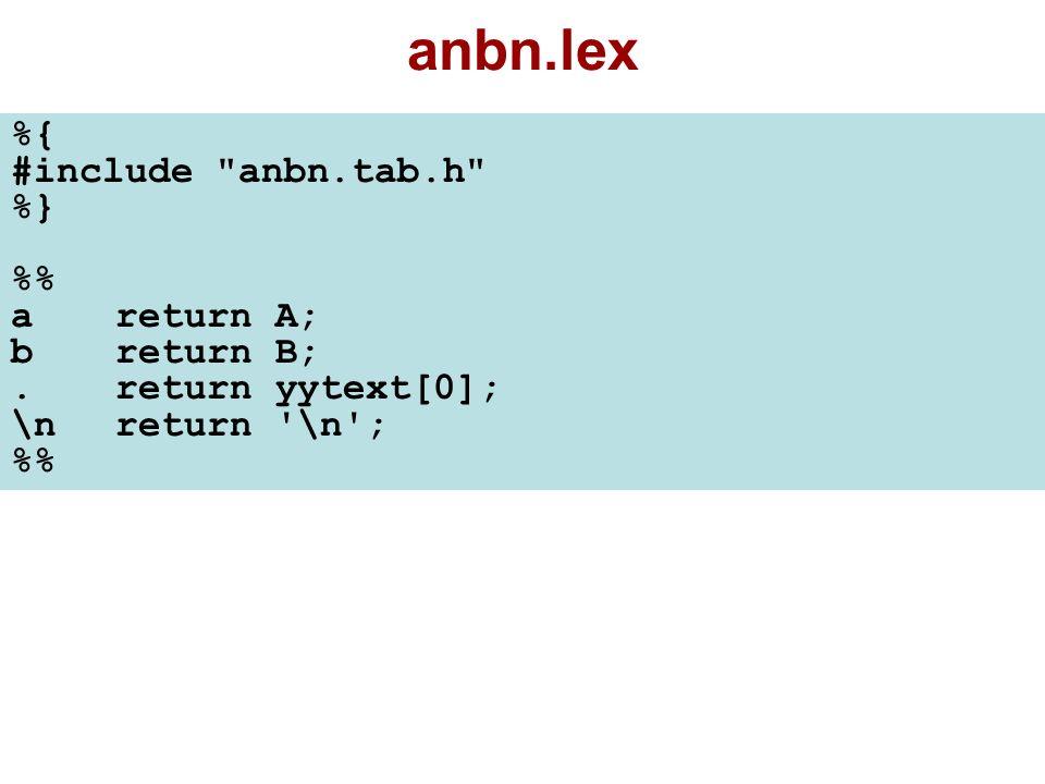 flex-bison İkilisini Çalıştırma $ flex anbn.lex (İçinde bulunduğunuz klasörde lex.yy.c dosyası oluşur.) $ bison -d anbn.y (İçinde bulunduğunuz klasörde anbn.tab.h ve anbn.tab.c dosyaları oluşur.