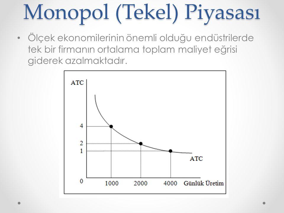 Monopol (Tekel) Piyasası Ölçek ekonomilerinin önemli olduğu endüstrilerde tek bir firmanın ortalama toplam maliyet eğrisi giderek azalmaktadır.