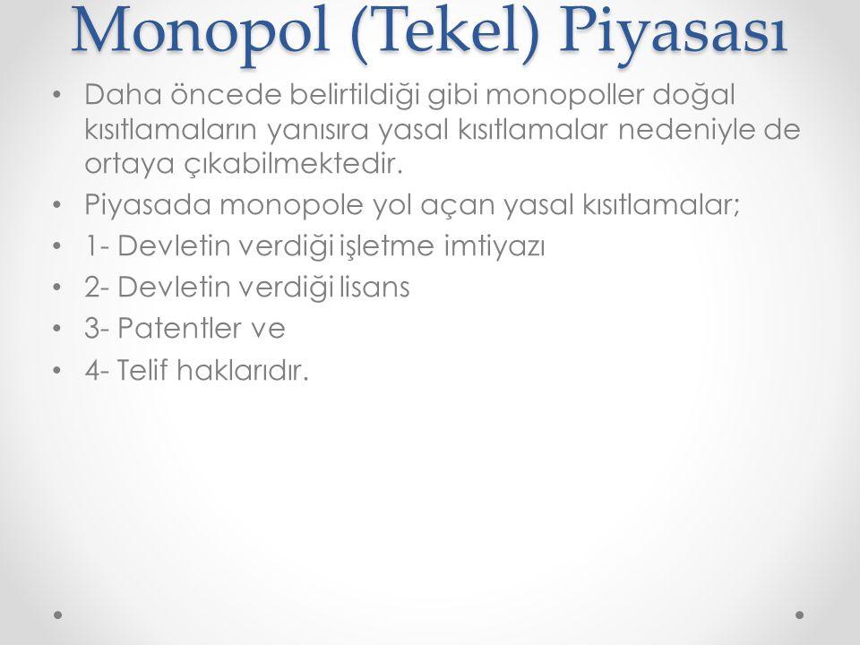 Monopol (Tekel) Piyasası Daha öncede belirtildiği gibi monopoller doğal kısıtlamaların yanısıra yasal kısıtlamalar nedeniyle de ortaya çıkabilmektedir